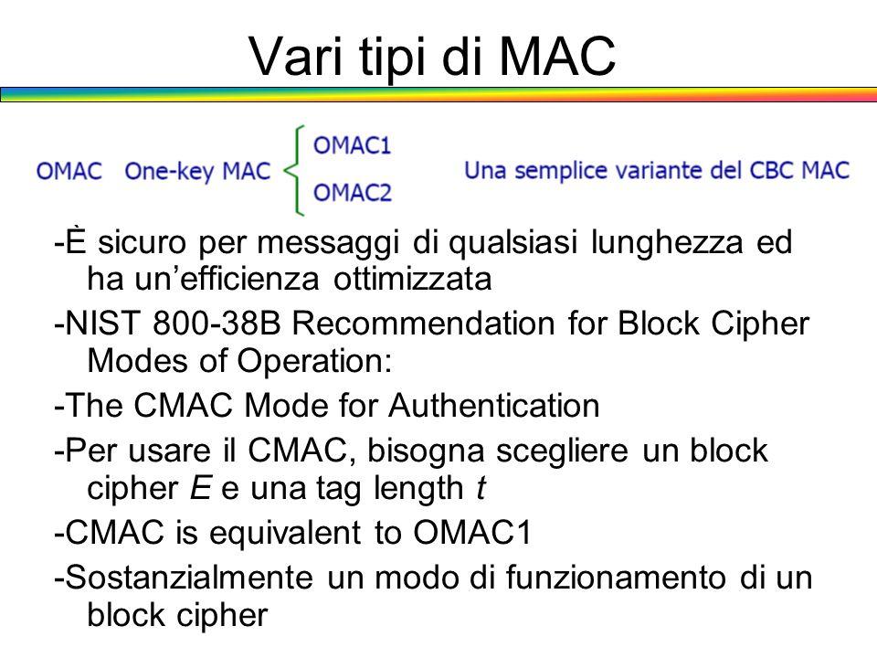 Vari tipi di MAC -È sicuro per messaggi di qualsiasi lunghezza ed ha un'efficienza ottimizzata.