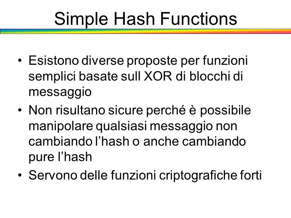 Simple Hash Functions Esistono diverse proposte per funzioni semplici basate sull XOR di blocchi di messaggio.