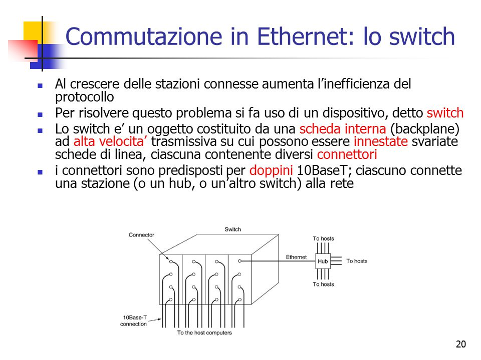 Commutazione in Ethernet: lo switch