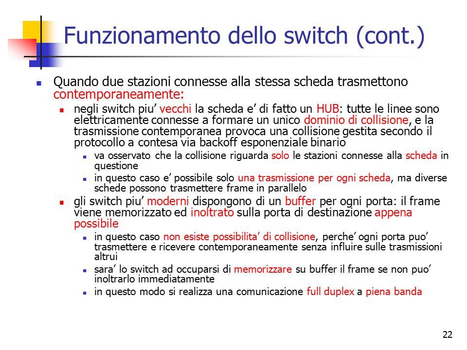 Funzionamento dello switch (cont.)