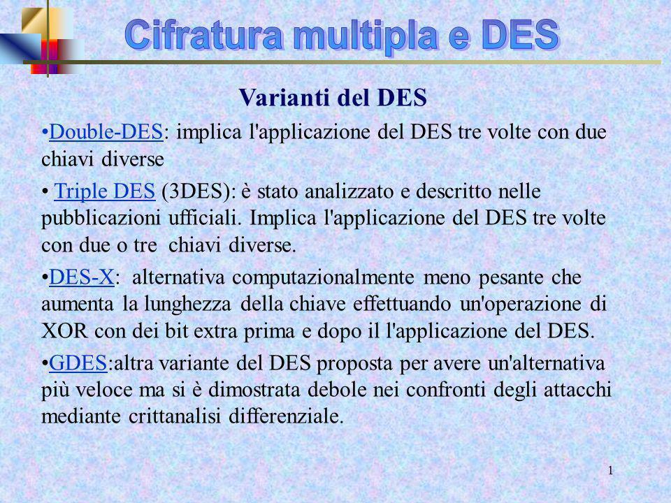 Cifratura multipla e DES