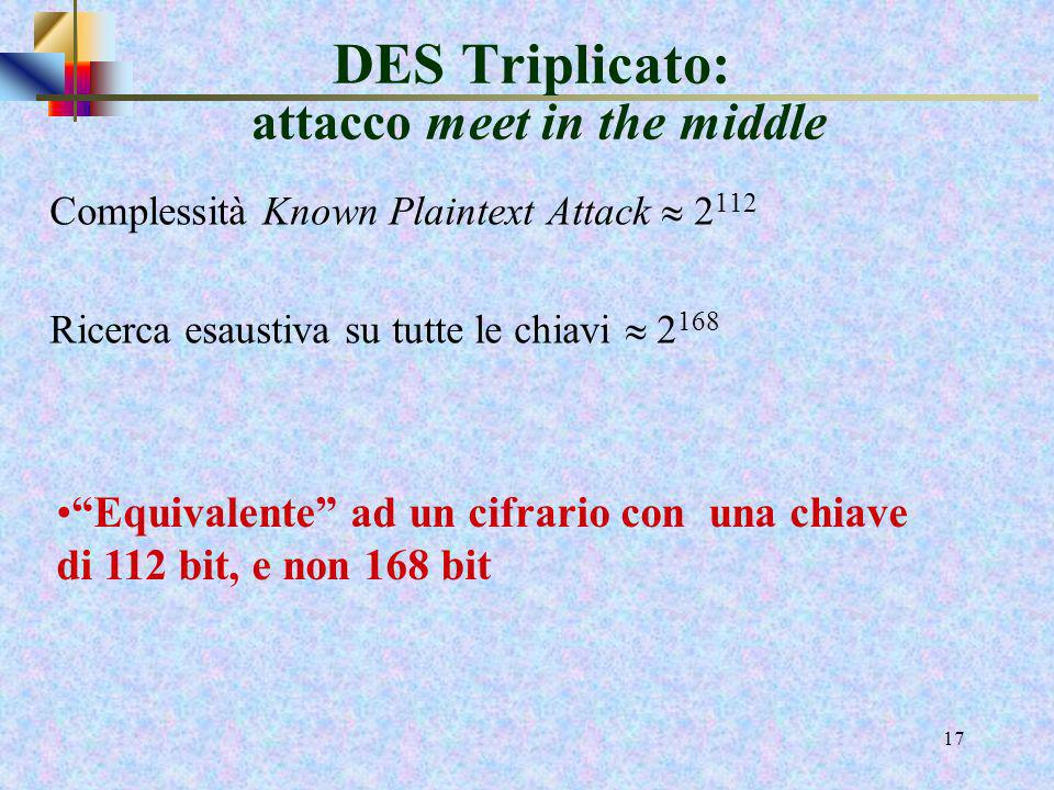 DES Triplicato: attacco meet in the middle