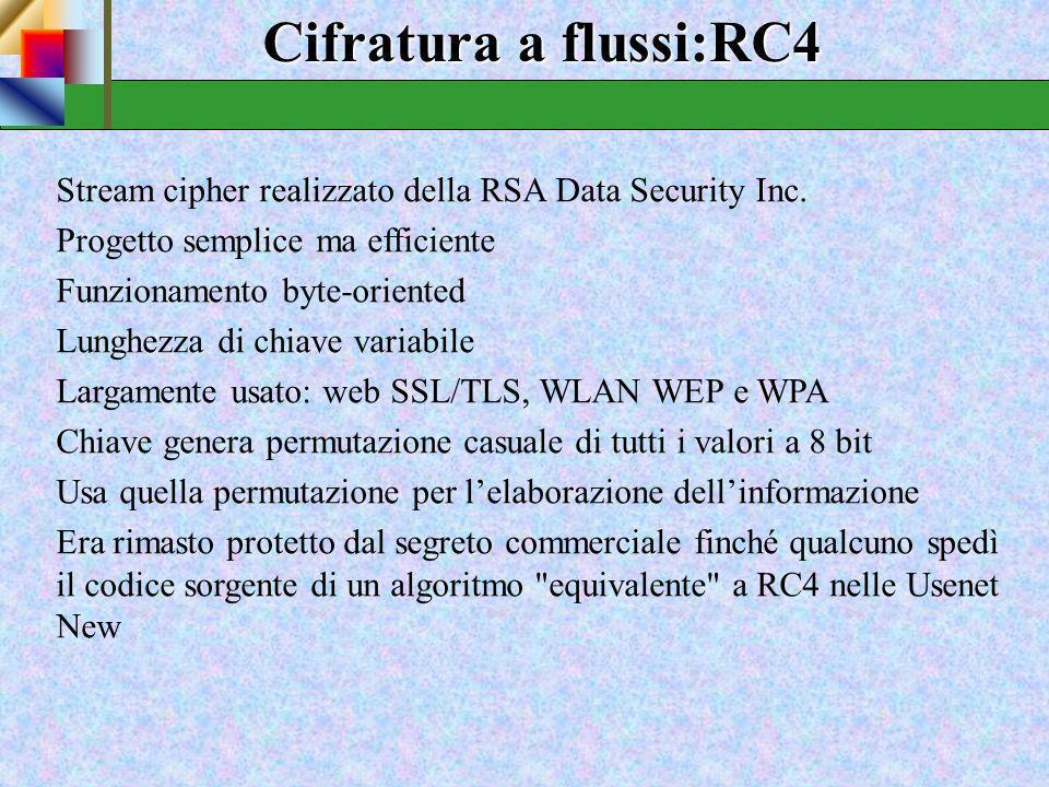 Cifratura a flussi:RC4 Stream cipher realizzato della RSA Data Security Inc. Progetto semplice ma efficiente.