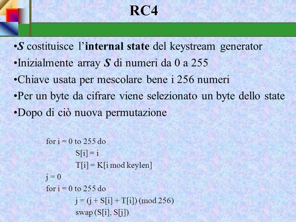 RC4 S costituisce l'internal state del keystream generator