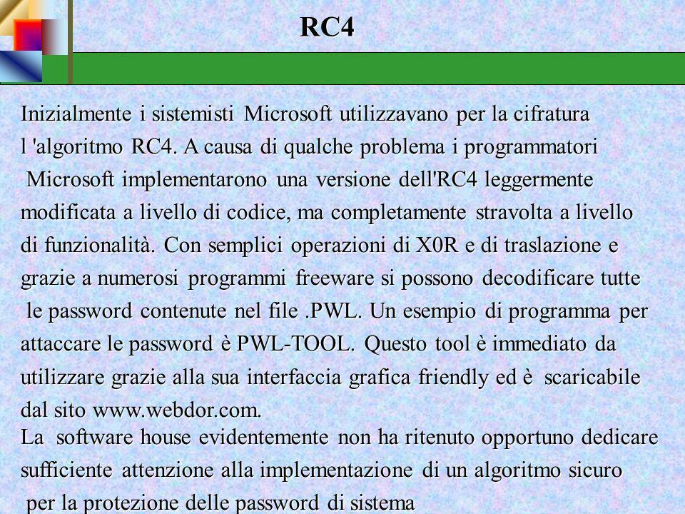 RC4 Inizialmente i sistemisti Microsoft utilizzavano per la cifratura