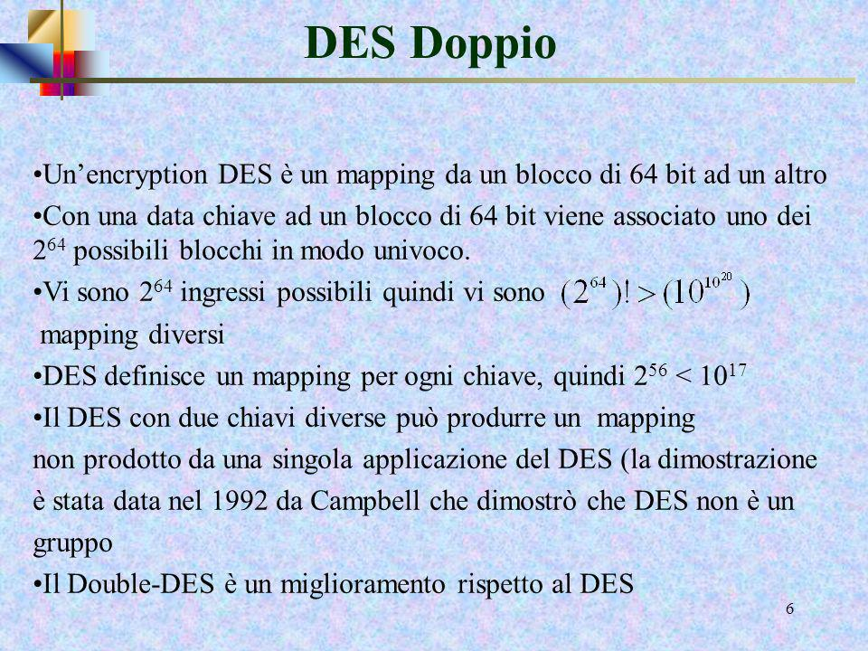 DES Doppio Un'encryption DES è un mapping da un blocco di 64 bit ad un altro.