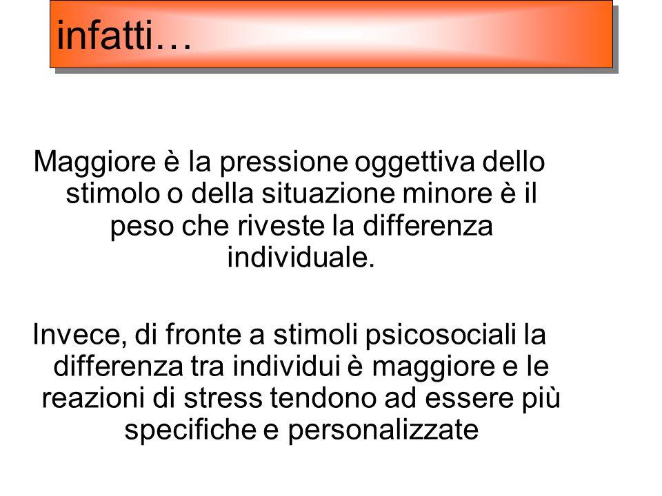 infatti… Maggiore è la pressione oggettiva dello stimolo o della situazione minore è il peso che riveste la differenza individuale.