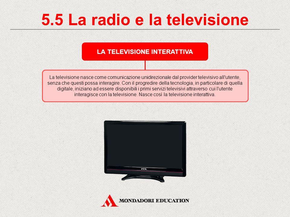 5.5 La radio e la televisione LA TELEVISIONE INTERATTIVA