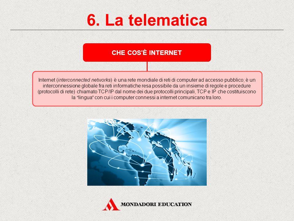 6. La telematica CHE COS È INTERNET *