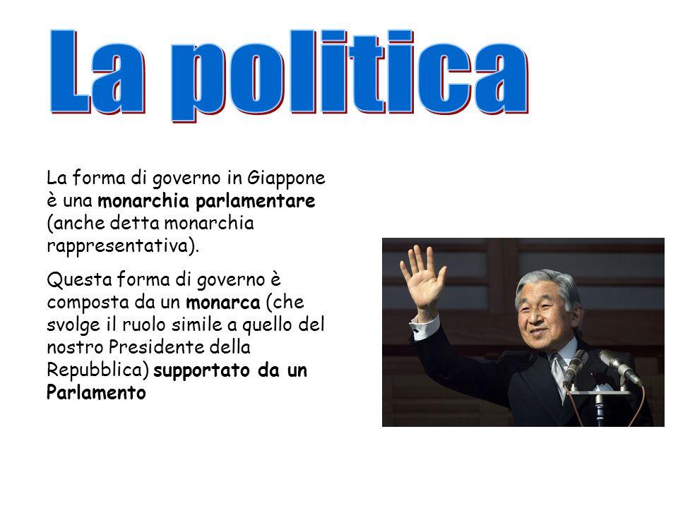 La politica La forma di governo in Giappone è una monarchia parlamentare (anche detta monarchia rappresentativa).