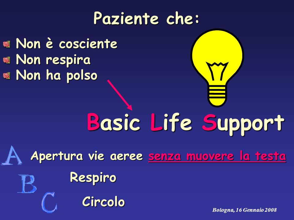 Basic Life Support Paziente che: Non è cosciente Non respira