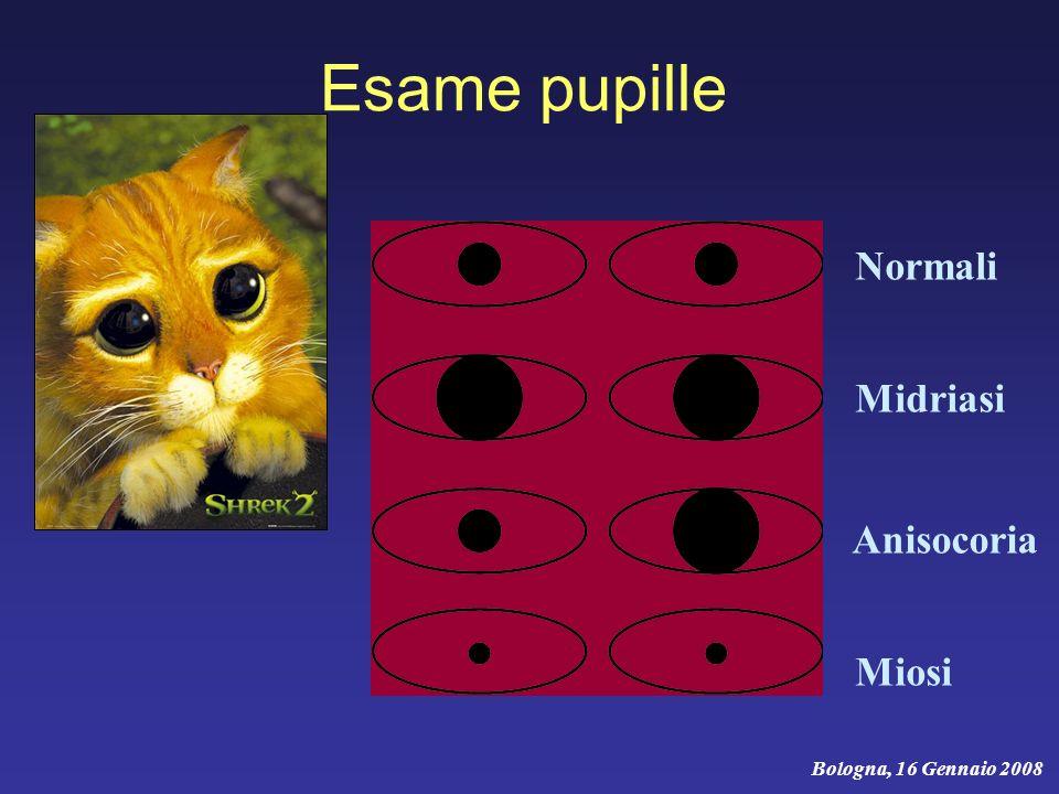 Esame pupille Normali Midriasi Anisocoria Miosi