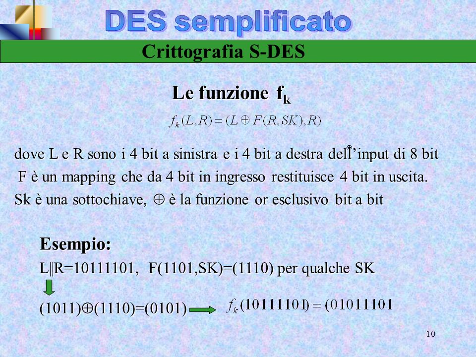 DES semplificato Crittografia S-DES Le funzione fk Esempio: