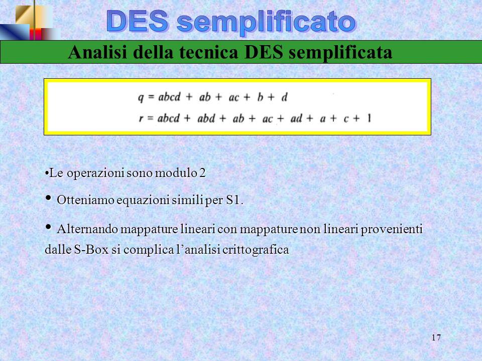 DES semplificato Analisi della tecnica DES semplificata