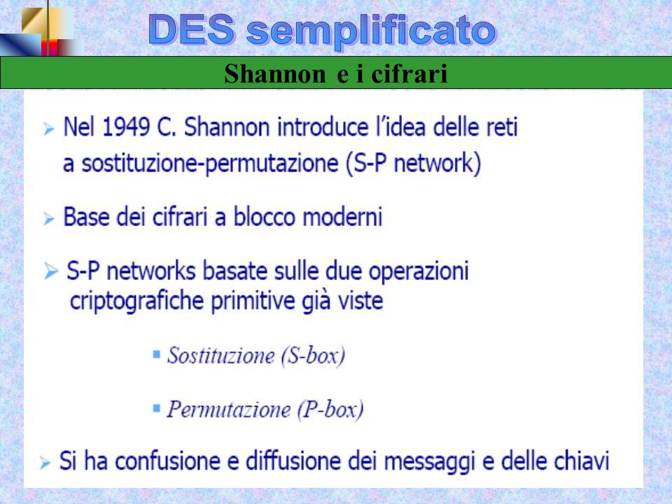 DES semplificato Shannon e i cifrari