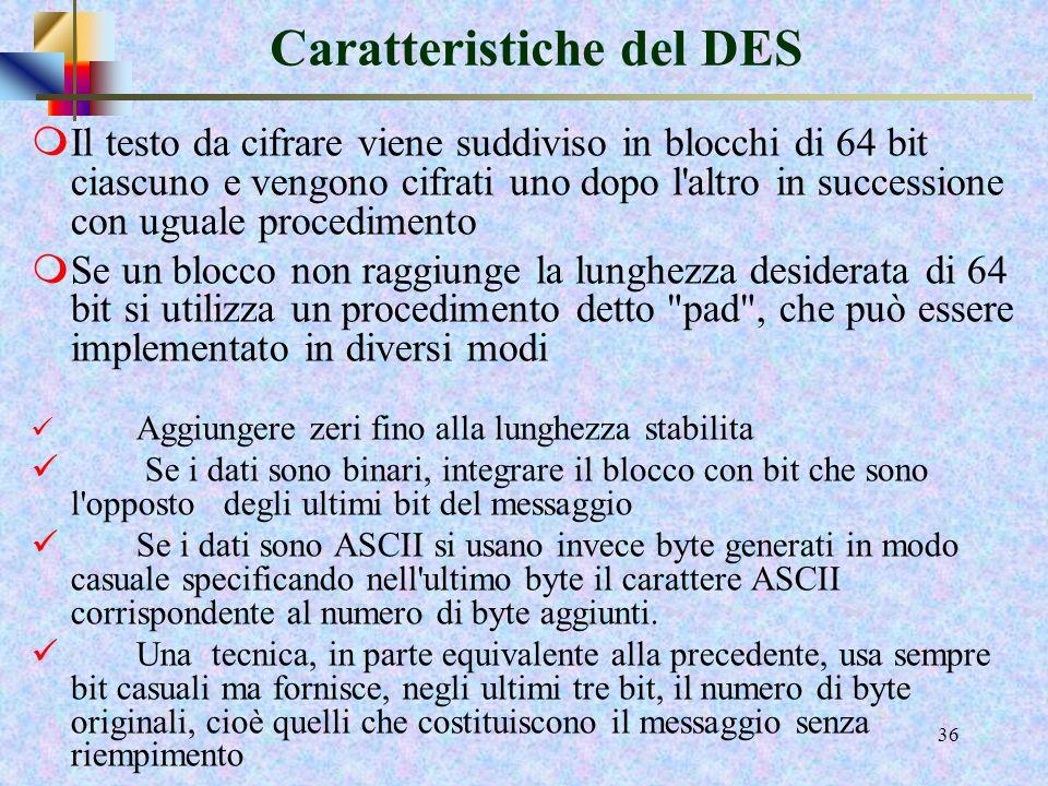 Caratteristiche del DES