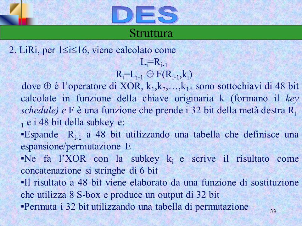 DES Struttura 2. LiRi, per 1i16, viene calcolato come Li=Ri-1