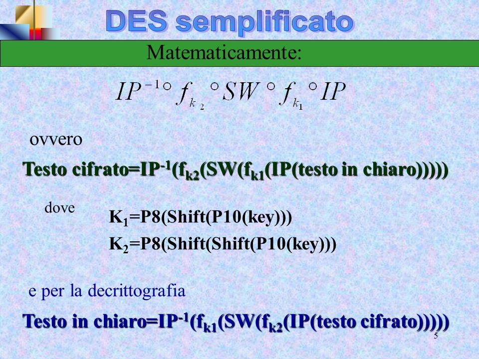 DES semplificato Matematicamente: ovvero
