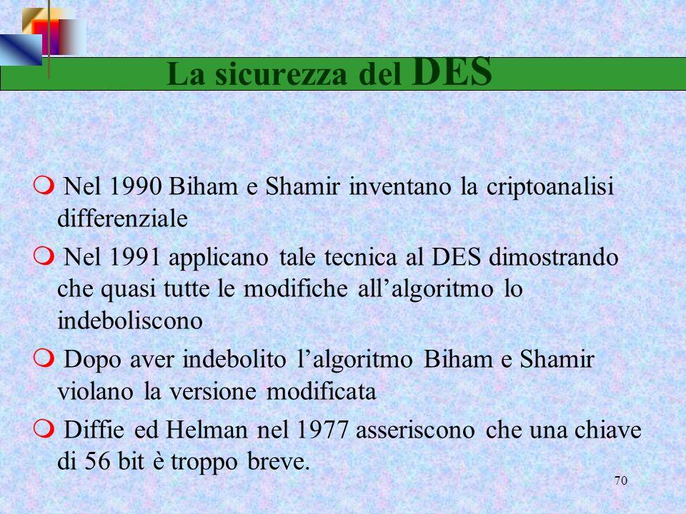 La sicurezza del DES Nel 1990 Biham e Shamir inventano la criptoanalisi differenziale.