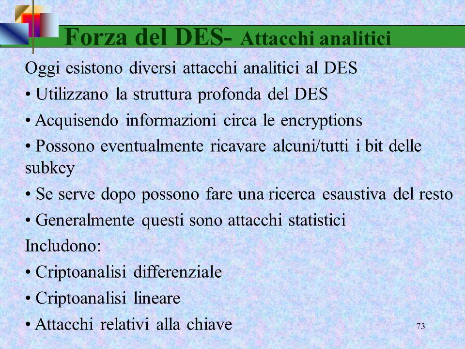 Forza del DES- Attacchi analitici