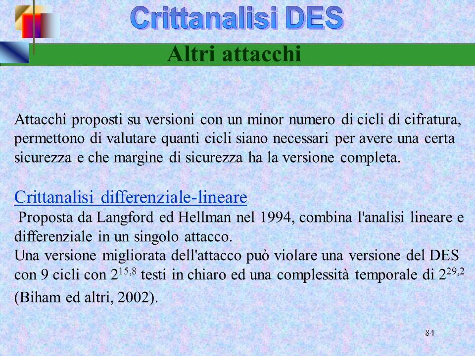 Altri attacchi Crittanalisi DES Crittanalisi differenziale-lineare