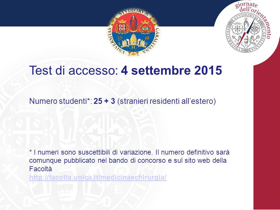 Test di accesso: 4 settembre 2015