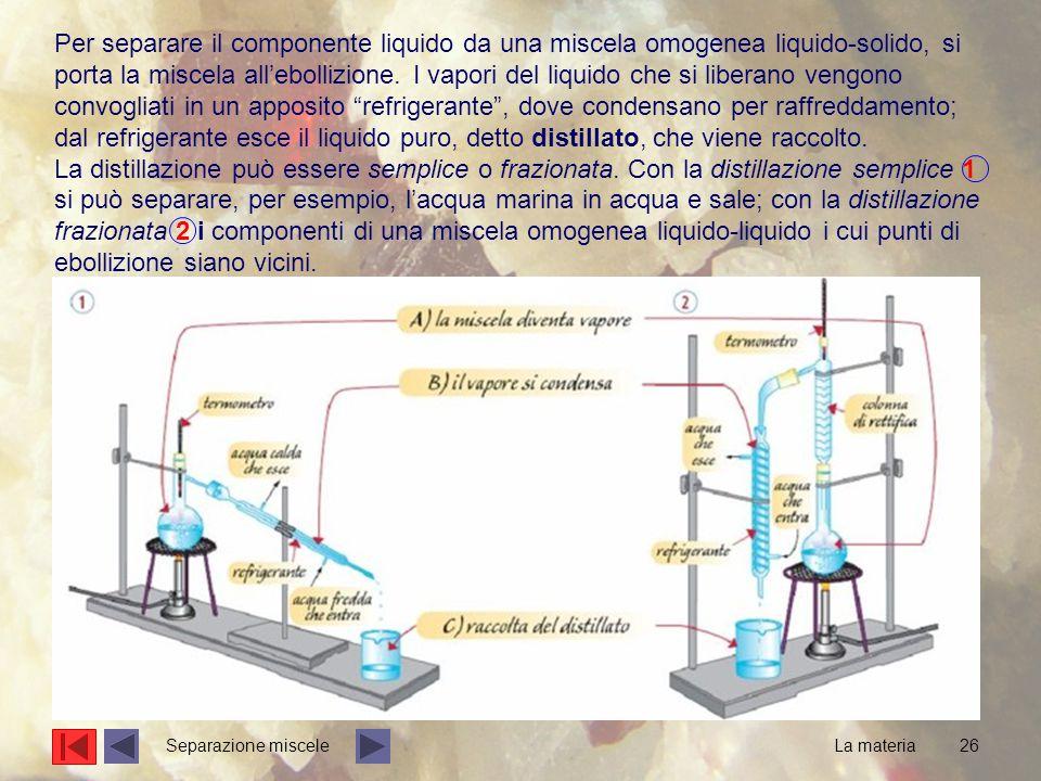 Per separare il componente liquido da una miscela omogenea liquido-solido, si porta la miscela all'ebollizione. I vapori del liquido che si liberano vengono convogliati in un apposito refrigerante , dove condensano per raffreddamento; dal refrigerante esce il liquido puro, detto distillato, che viene raccolto.