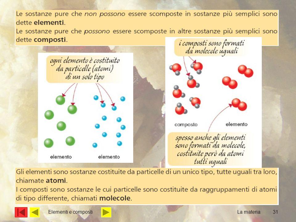 Elementi e composti La materia