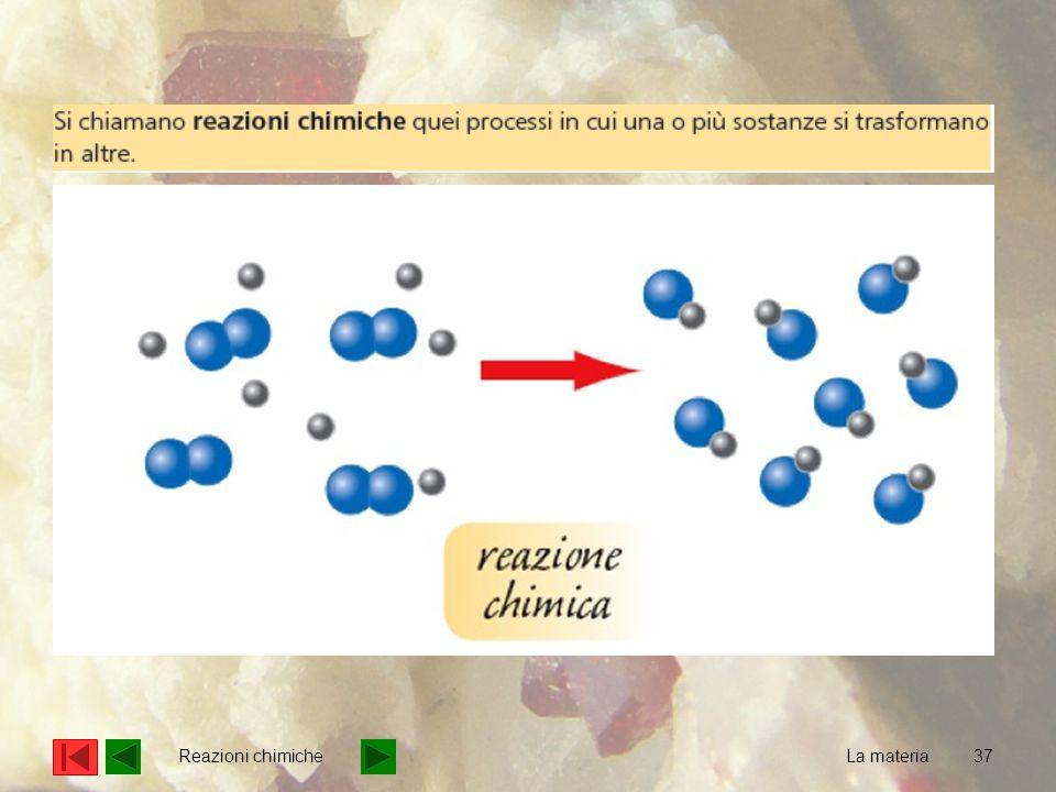 Reazioni chimiche La materia