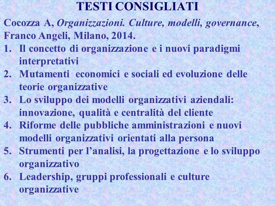 TESTI CONSIGLIATI Cocozza A, Organizzazioni. Culture, modelli, governance, Franco Angeli, Milano, 2014.