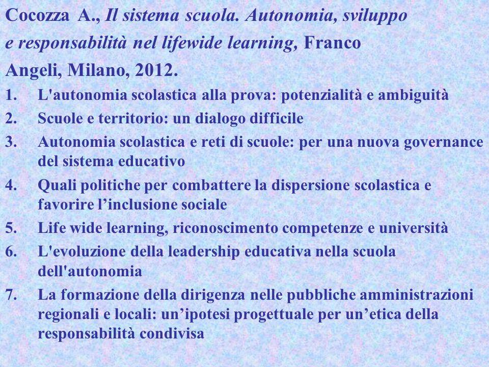 Cocozza A., Il sistema scuola. Autonomia, sviluppo