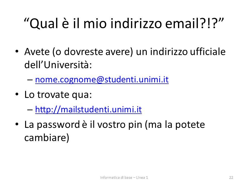 Qual è il mio indirizzo email !