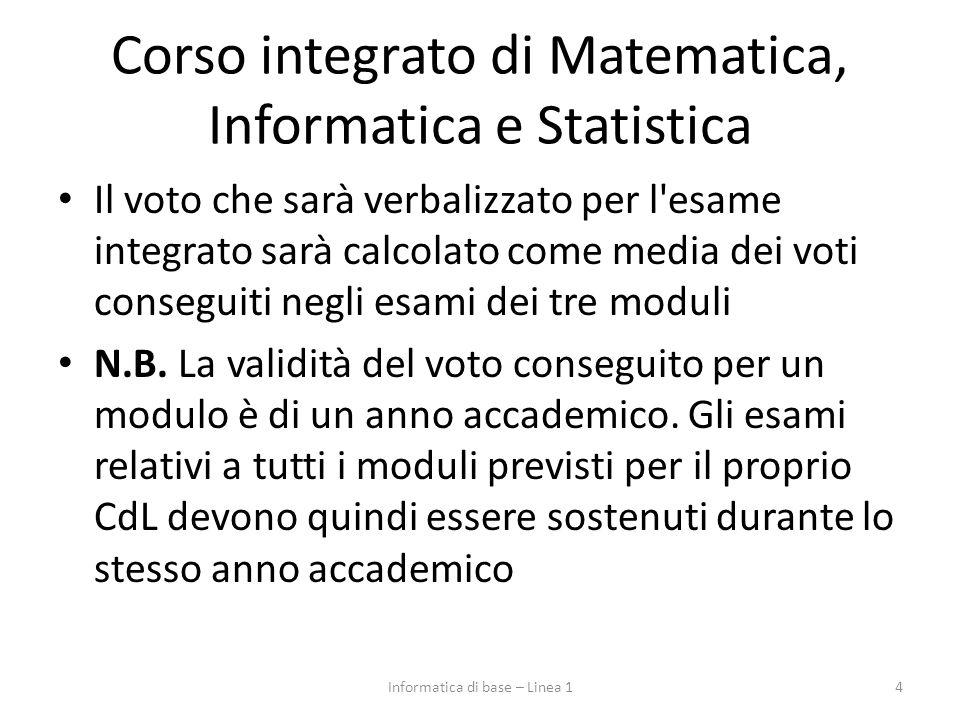 Corso integrato di Matematica, Informatica e Statistica