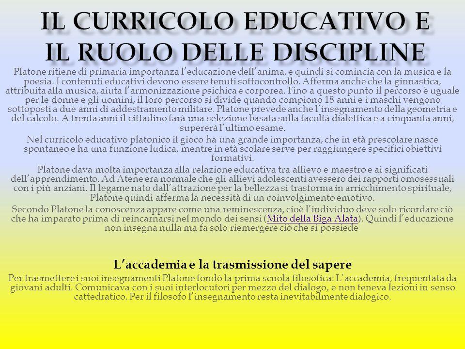 Il curricolo educativo e il ruolo delle discipline
