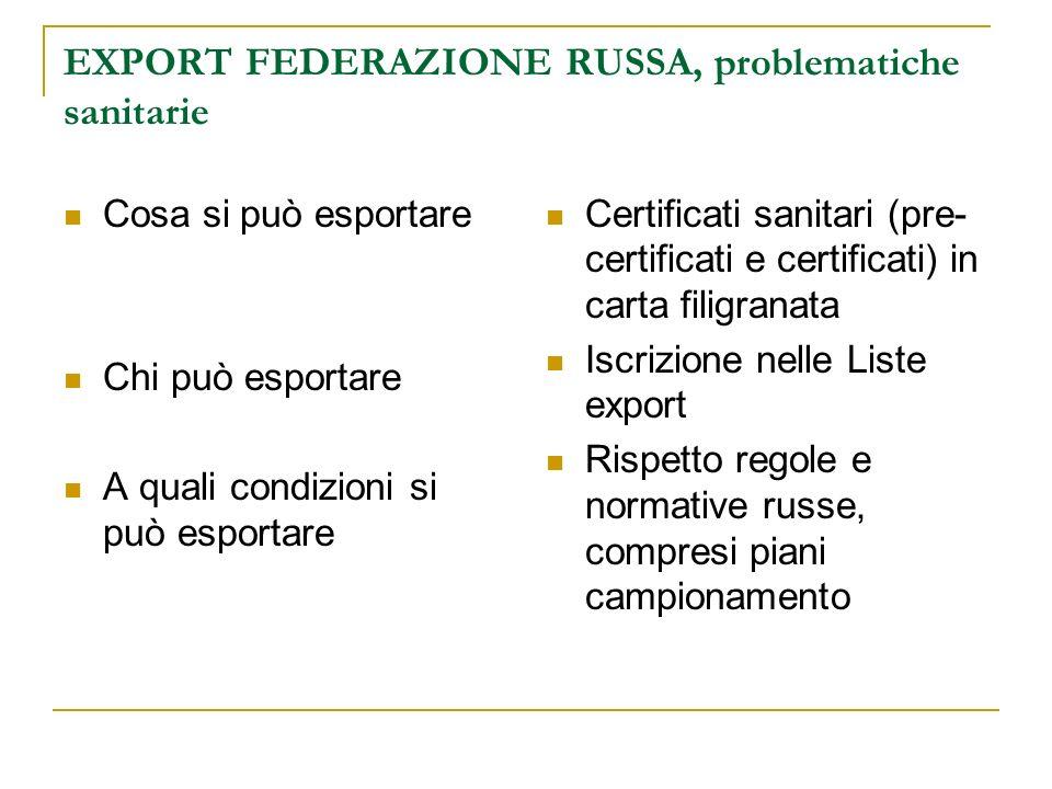 EXPORT FEDERAZIONE RUSSA, problematiche sanitarie