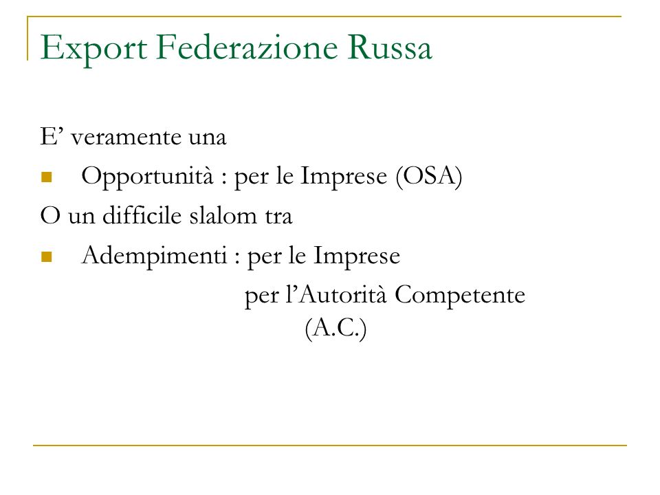 Export Federazione Russa