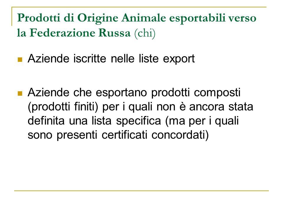 Prodotti di Origine Animale esportabili verso la Federazione Russa (chi)