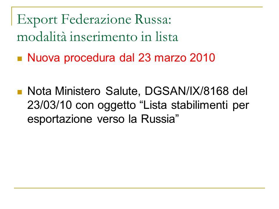 Export Federazione Russa: modalità inserimento in lista