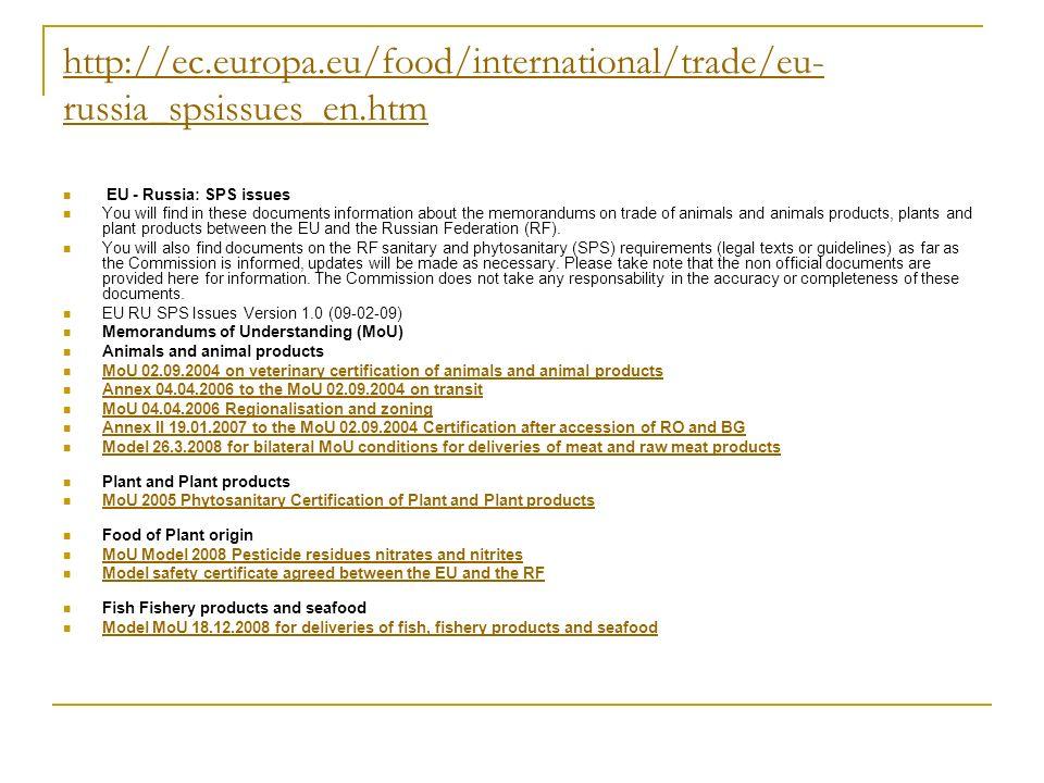 http://ec. europa. eu/food/international/trade/eu-russia_spsissues_en
