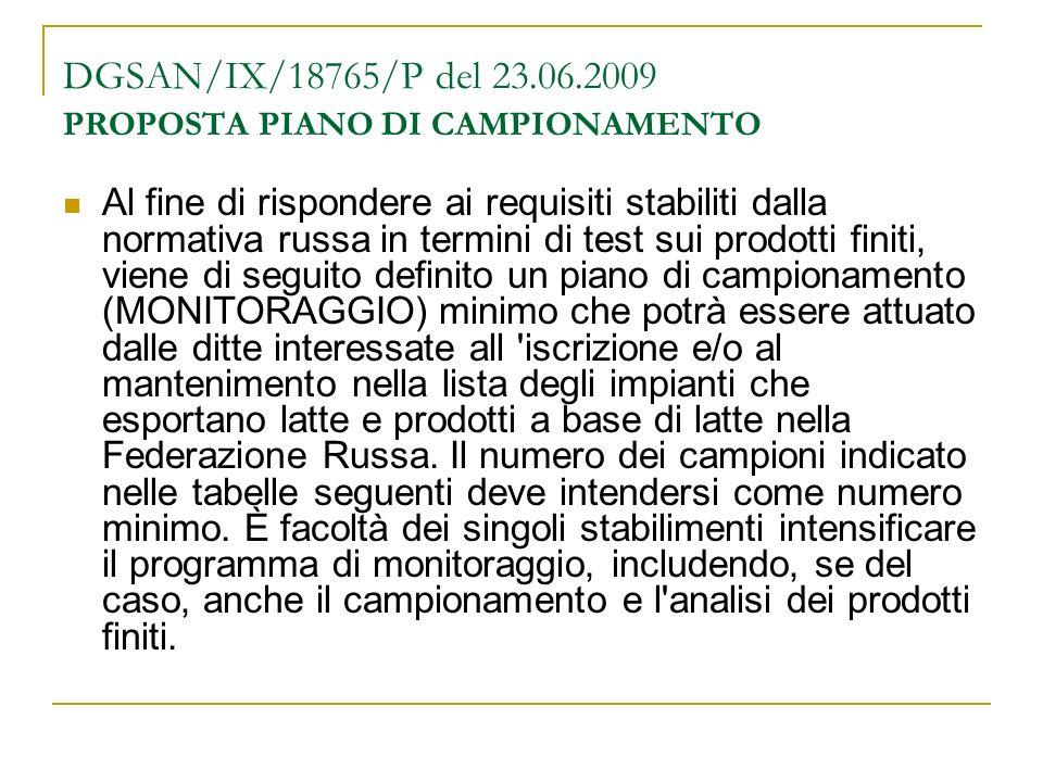 DGSAN/IX/18765/P del 23.06.2009 PROPOSTA PIANO DI CAMPIONAMENTO