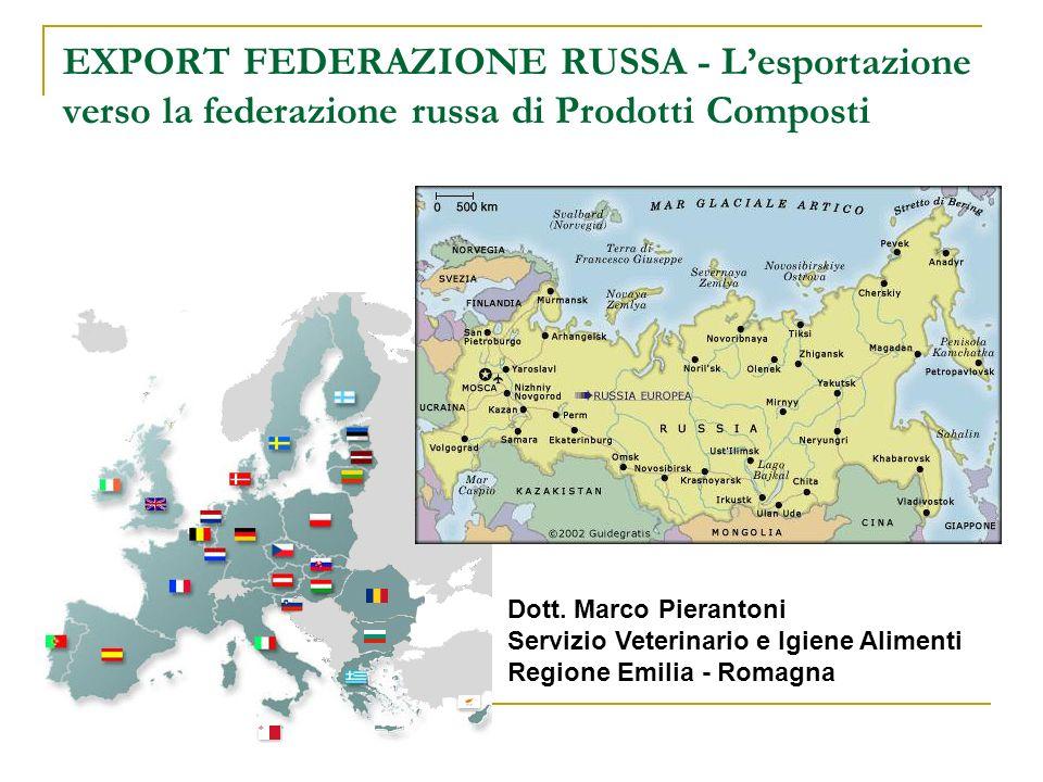 EXPORT FEDERAZIONE RUSSA - L'esportazione verso la federazione russa di Prodotti Composti