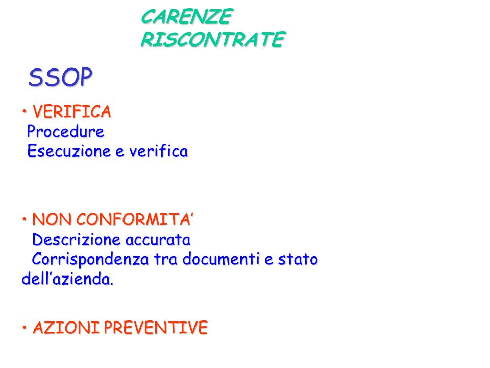 SSOP CARENZE RISCONTRATE VERIFICA Procedure Esecuzione e verifica