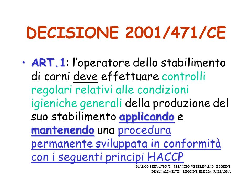 DECISIONE 2001/471/CE