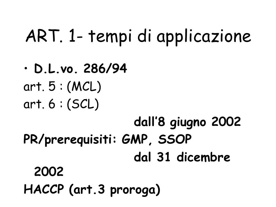 ART. 1- tempi di applicazione
