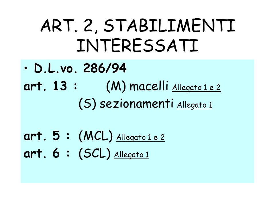 ART. 2, STABILIMENTI INTERESSATI