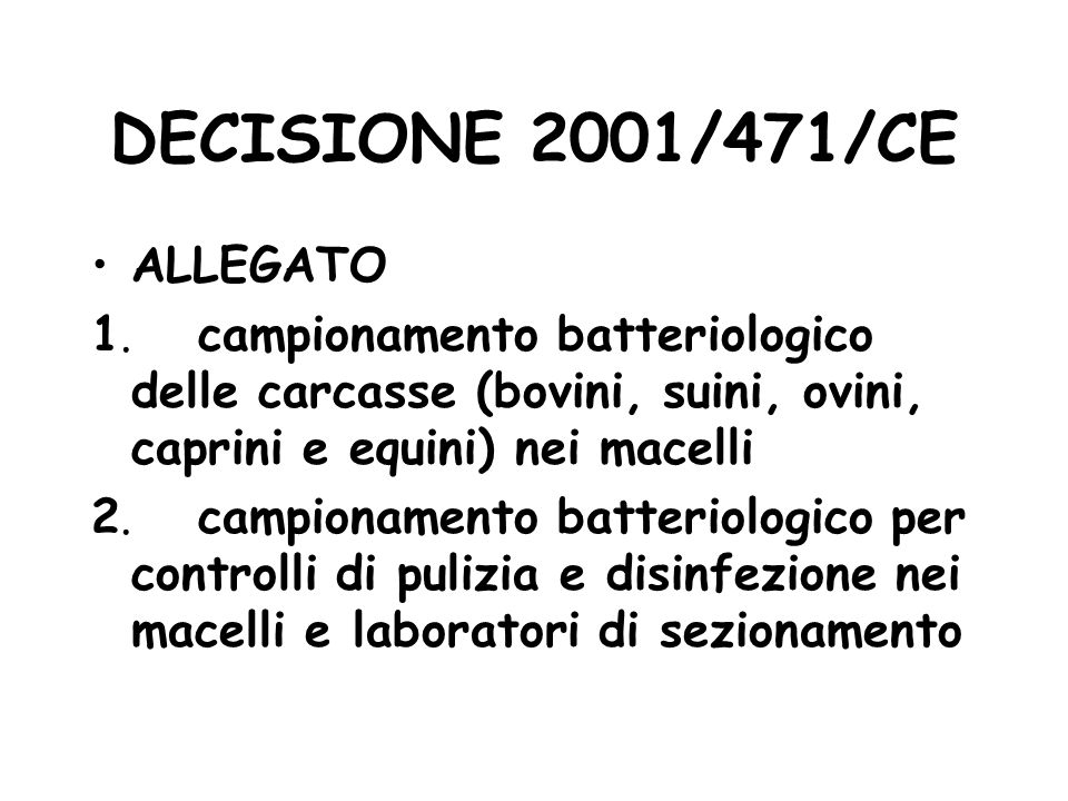 DECISIONE 2001/471/CE ALLEGATO