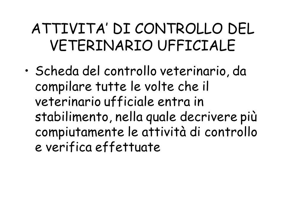 ATTIVITA' DI CONTROLLO DEL VETERINARIO UFFICIALE