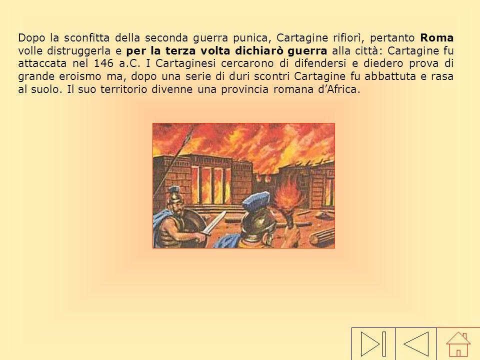 Dopo la sconfitta della seconda guerra punica, Cartagine rifiorì, pertanto Roma volle distruggerla e per la terza volta dichiarò guerra alla città: Cartagine fu attaccata nel 146 a.C. I Cartaginesi cercarono di difendersi e diedero prova di grande eroismo ma, dopo una serie di duri scontri Cartagine fu abbattuta e rasa al suolo. Il suo territorio divenne una provincia romana d'Africa.