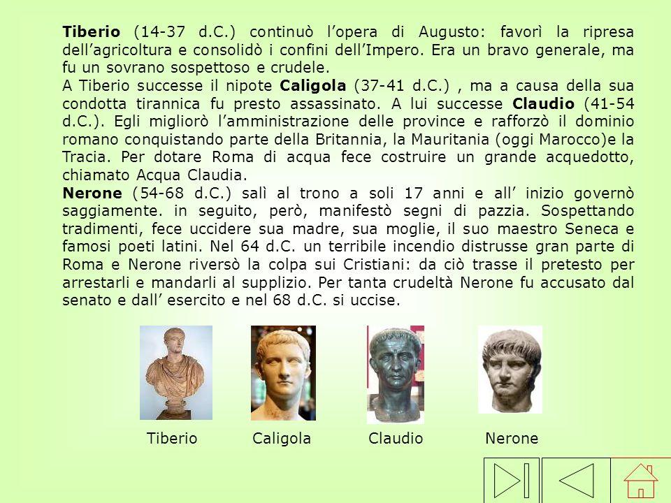 Tiberio (14-37 d.C.) continuò l'opera di Augusto: favorì la ripresa dell'agricoltura e consolidò i confini dell'Impero. Era un bravo generale, ma fu un sovrano sospettoso e crudele.