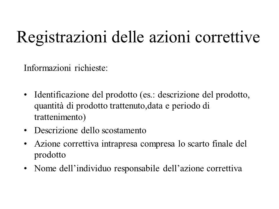 Registrazioni delle azioni correttive